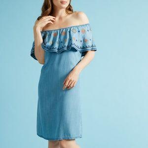 [Spense] Off-the-Shoulder Embroidered Dress